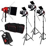 2400 W Illuminatore Compatto-800W*3 Professionale Photography continua Studio illuminazione Kit impostazione per il tiro perfetto, Luce Kit Set 2400W Illuminatore Compatto luce rossa testa rossa
