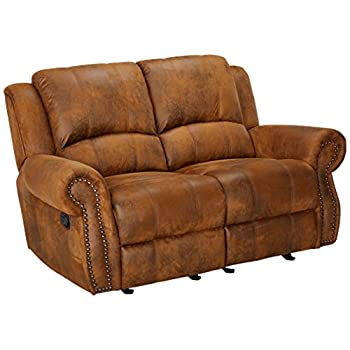 Sir Rawlinson Gliding Reclining Loveseat with Nailhead Studs Buckskin Brown