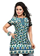 Indian Tunic Top Womens / Kurti Printed Blouse tops - AZDKJD-49S3