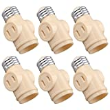 Onite 6 PCS E26 US Standard Screw Light Holder with Two Outlet Socket Adapter, Beige