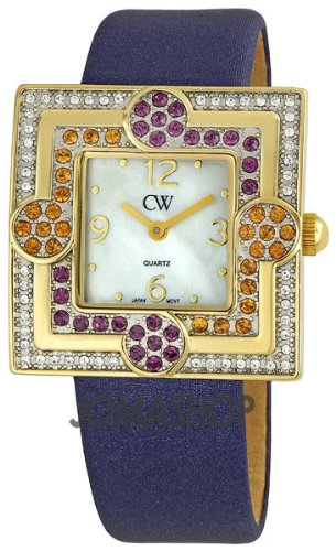Charles Winston White Mother of Pearl Dial Blue Satin Strap Ladies Watch WG0292-PR