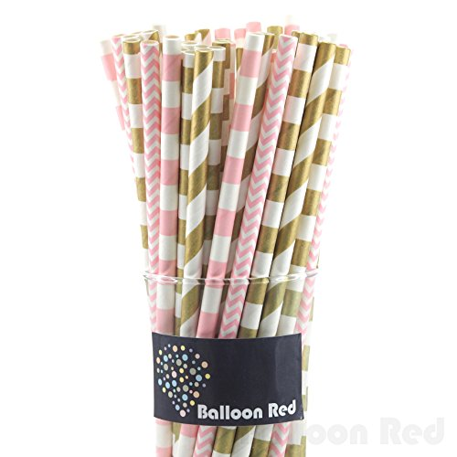 Biodegradable Paper Drinking Straws (Premium Quality), Pack of 100, Combo - Gold & Pink / Striped
