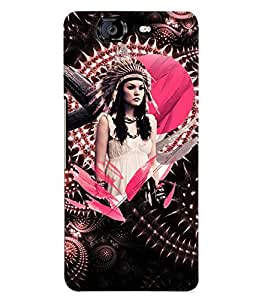 PrintVisa Stylish Cool Girl Tribal Pink 3D Hard Polycarbonate Designer Back Case Cover for Micromax Knight A350