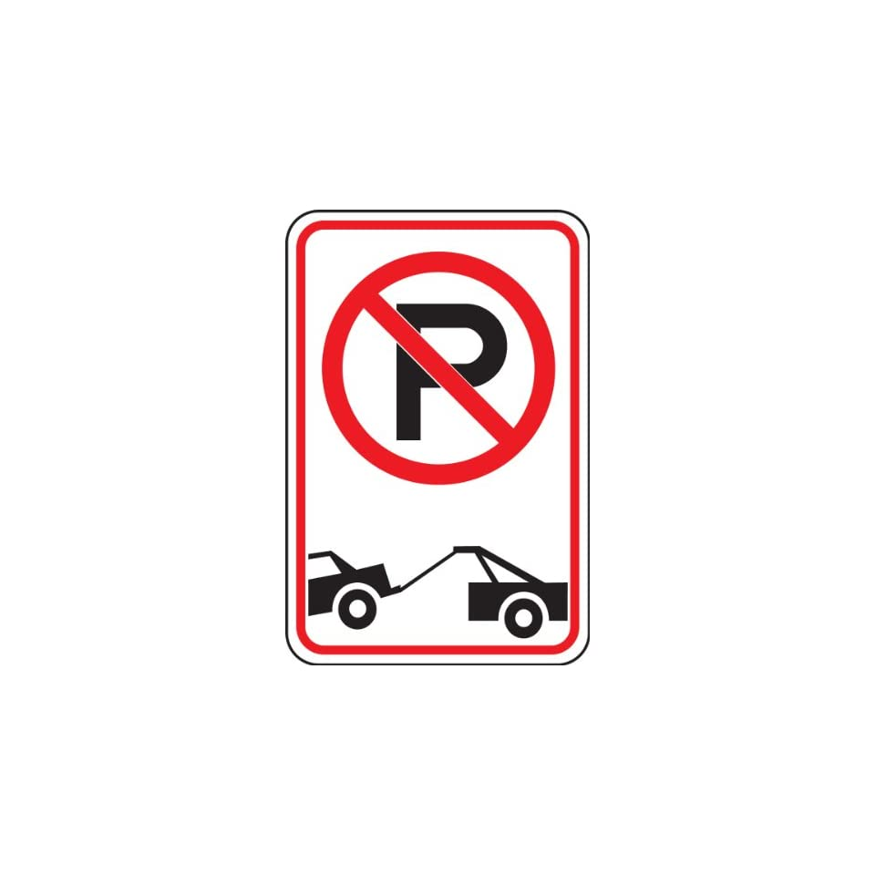 Accuform Signs FRP166RA Engineer Grade Reflective Aluminum No Parking/Tow Away Symbol Restriction Sign, 12 Width x 18 Length x 0.080 Thickness, Black/Red on White