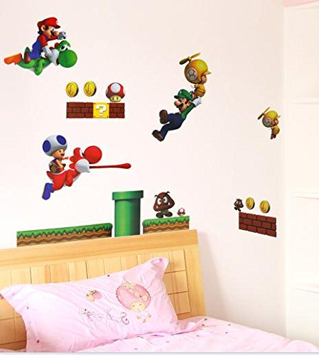 Super Mario Luigi Yoshi Theme Decal For Kid'S Bedroom Wall Decor Removable Boy'S Room Wall Art Mario Bros Sticker front-63779