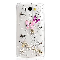 LG Spree Case, Sense-TE Luxurious Crystal 3D Handmade Sparkle Diamond Rhinestone Clear Cover with Retro Bowknot Anti Dust Plug - Dance Butterfly Flowers / Colorful