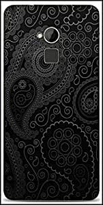 Snoogg Paisely Pattern Black Designer Protective Back Case Cover For HTC One-Max