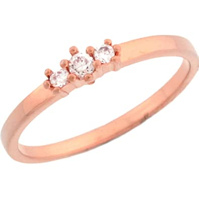 14ct Rose Gold Pretty Three Stone Round Cut Diamonds Promise Ring