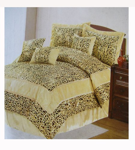 Casa Blanca Leopard Bedding Set - 7 pcs Bed in Bag (Queen Size)