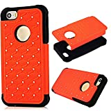 MOLLYCOOCLE Bling Star Series 2in1 Cover Case for iPhone 5 5S 5G Glitter Shiny Diamond Rhinestone Studded Embossed bas reliefs Oval Hard Cover Case (Orange)