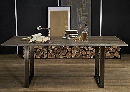 Table à manger 160x90cm – Fer et bois massif de palissandre laqué - SHIELD #0101