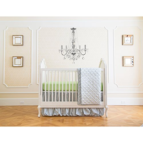 Summer Infant 4 Piece Classic Bedding Set with Adjustable Crib Skirt, Garden Gray
