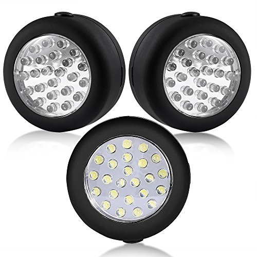 Cade 24 LED Round Magnetic Work Light Torch with Integral Hanging Hook and Magnet Set,Pack of 3(Black)