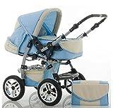 CALIDAD Carrito y Silla de paseo 2 en 1 FLASH - Todo incluido - Mucho accesorios de color Azul Claro-Crema