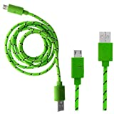 Wayzon Quality Light Green Strong Nylon Braided Unbrakable High Speed Sync Micro USB Data Cable Lead Charger For Motorola Motoluxe MT680 / XT389 / Motosmart Flip XT611 / MIX XT550 / MOTOTV EX245