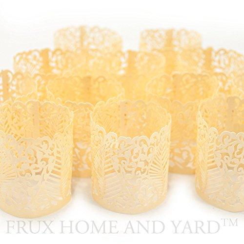 FLAMELESS TEA LIGHT VOTIVE WRAPS- 48 Ivory colored laser cut decorative wraps for Frux Home and Yard Flickering LED Battery Tealight Candles