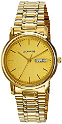 Sonata Analog Gold Dial Mens Watch - NC1013YM08