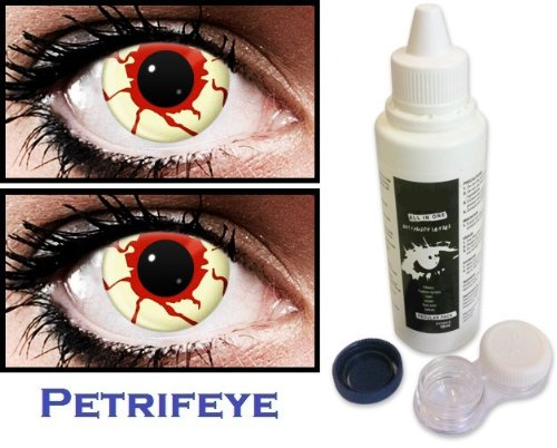 Blood Zombie Non Prescription (2 lenses in pack) Fashion Halloween Contact Lenses By Petrifeye Eyes With Free 120ml Solution And Blue/White Soaking Case