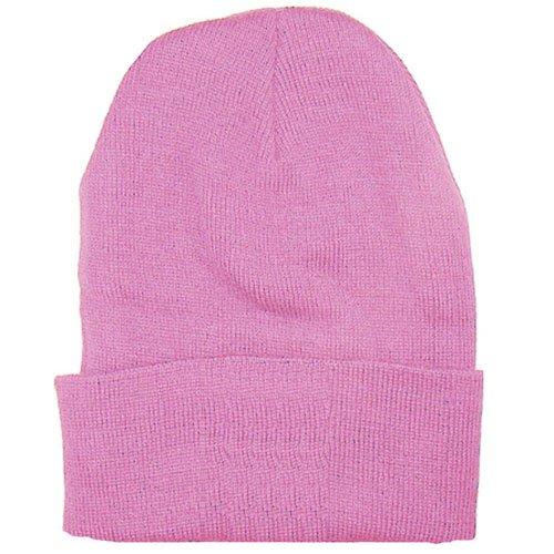 Pink Plain Tight Fitting Beanie Skull Cap Hat