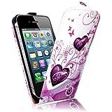 Coque iphone 4 Etui Blanc PU Cuir Clapet Housse avec papillon rose