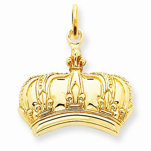 Solid 14K Yellow Gold Fleur De Lis Crown Charm Pendant (20Mm X 20Mm)