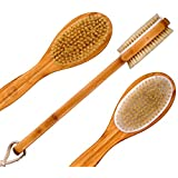Bath Blossom Bamboo Dry Body Brush Long Handled Exfoliating Bath Scrubber - Used Wet or Dry For Men and Women