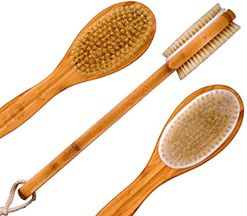 Bath Blossom Bamboo Dry Body Brush Long Handled Exfoliating Bath Scrubber - Effective Back Brush Exfoliation and Massage - Used Wet or Dry For Men and Women (Bath And Shower Scrubber compare prices)