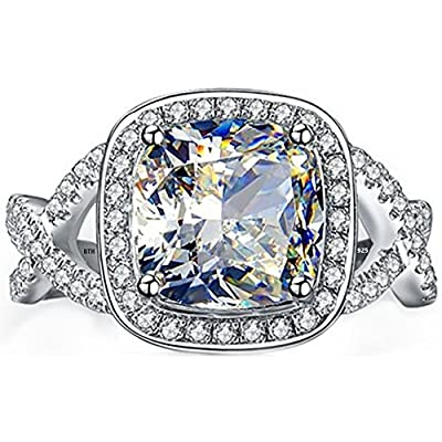 Ladies Ring-925 Sterling Silver Luxury Cushion Cut Simulated Diamonds CZ Halo Design Affordable Wedding Engagement Ring