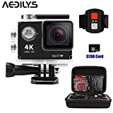 Action Camera , AEDILYS 4K HD Action Camera ,Wrist 2.4G Wireless RF Remote Control , WiFi 2inch 170° Sports Video, lens Helmet go waterproof pro came