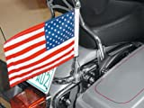 Harley Davidson Touring Motorcycles Pro Pad Flag Mount for 7/8 Round License Plate bar with 6 by 9 USA Flag