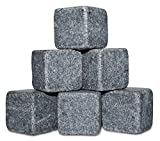 Whiskey Stones - Cold Stones/Rocks For Drinks - Natural Granite Whiskey Stones To Cool/Chill Your Drinks - A Gift Set Of 6 Unique Granite Ice Stones & 2 Crystal Whiskey Glasses By Lord's Rocks