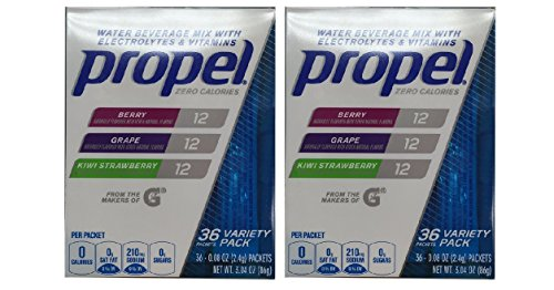 Propel Zero Calorie Nutrient Enhanced Water Beverage Mix 36 packets (Pack of 2) (Propel Grape Drink Mix compare prices)