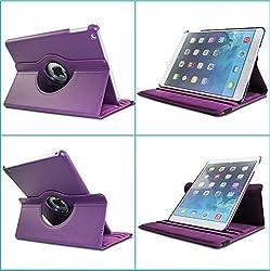 TGK 360 Degree Rotating Leather Case Cover Stand For iPad 4, iPad 3, iPad 2 - Purple
