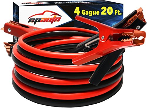 OxGord 4 Gauge 500 Amp Extra Long 25 Feet Heavy Duty Super Power Booster Starter Commercial Grade Jumper Cables for Emergency Use Auto Battery Starting Industrial Jumping 2015 Non Tangle Newest Technology with Travel Car Carry Case Bag