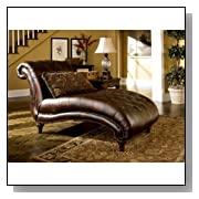 Faux Brown Leather Antique Chaise Couch