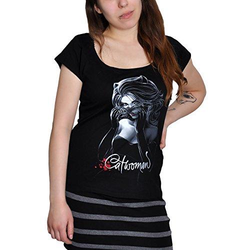 Catwoman - T-shirt glam da ragazza con motivo glitterato - Nero - XL