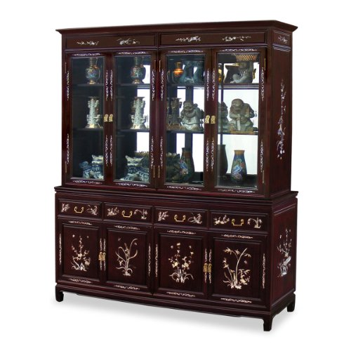 China Furniture Online Rosewood China Cabinet, 72 Inches Mother Pearl Inlay Display Cabinet Dark Cherry Finish