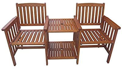 Rite Season KCW928MU Sitzbank mit Tisch Grande, 2-Sitzer, integriert, FSC Eukalyptus von Rite Season - Gartenmöbel von Du und Dein Garten