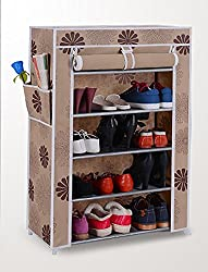 Styleys Homelike 5 Layer Multipurpose Portable Folding Shoe Rack/Shoe Shelf/Shoe Cabinet with wardrobe cover, Easy Installation Stand For Shoes - Flower (60 cms X 30 cms X 90 cms)