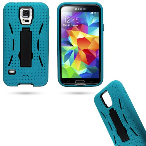 Mylife (Tm) Teal Blue And Shocking Space Black - Shock Suit Survivor Series (Built In Kickstand + Easy Grip Silicone) 3 Piece + 2 Layer Case For New Galaxy S5 (5G) Smartphone By Samsung (External Flex Silicone Bumper Gel + Internal 2 Piece Rubberized Snap