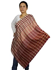 Indian Accessory Wool Silk Blend Scarf Women Contemporary Striped Pattern