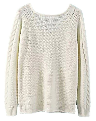 Carolina Women'S Knitted Warm Sweater Loose Fit Comfortable Pullover Sw15, White Medium