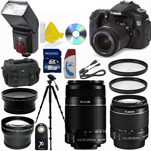Canon Eos 70D 20.2 Mp Digital Slr Camera With Dual Pixel Cmos Af Full Hd 1080P Video And Ef-S 18-55Mm F3.5-5.6 Is Lens 33Rd Street Bundle With Canon Ef-S 55-250Mm F/4-5.6 Is Ii Lens + 25 Pc Accessory Kit