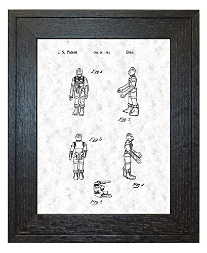 "Star Wars Bossk Patent Art Gunmetal Print in a Rustic Oak Wood Frame (18"" x 24"")"
