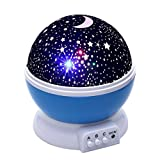 Smaate Night Light, Romantic Rotating Stars Projector Lamp Relaxing Mood Light for Kids Room (Light Blue)