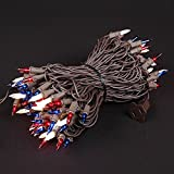 50 Foot 100 Light Outdoor Commercial Grade Christmas Mini Light Set - Red White Blue - Brown Wire
