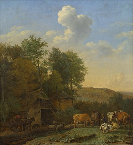 Polyster Canvas ,the Beautiful Art Decorative Canvas Prints Of Oil Painting 'Paulus Potter A Landscape With Cows Sheep And Horses By A Barn ', 20 X 22 Inch / 51 X 55 Cm Is Best For Bar Artwork And Home Decor And (Shocking Pink Anime)