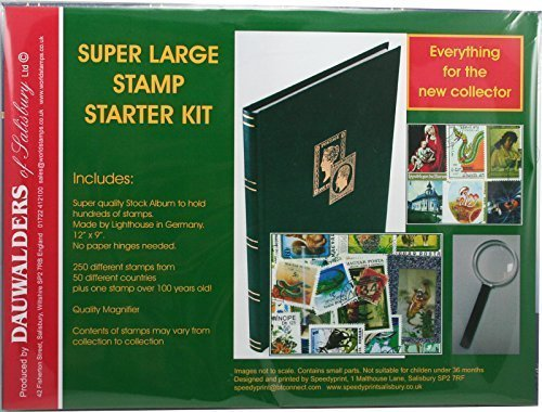 super-large-stamp-collecting-starter-kit-with-stockbook-quality-magnifier-250-stamps