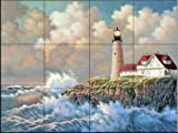 Harbor Light by Judy Gibson Tile Mural for Kitchen Backsplash Bathroom Wall Tile Mural