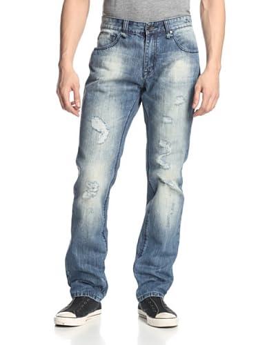 X-RAY Men's Straight Leg Jean with Rip/Repair
